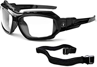 Ergodyne Skullerz Loki Convertible Safety Glasses, Clear Lens-Includes Gasket and Strap to Convert to Goggle