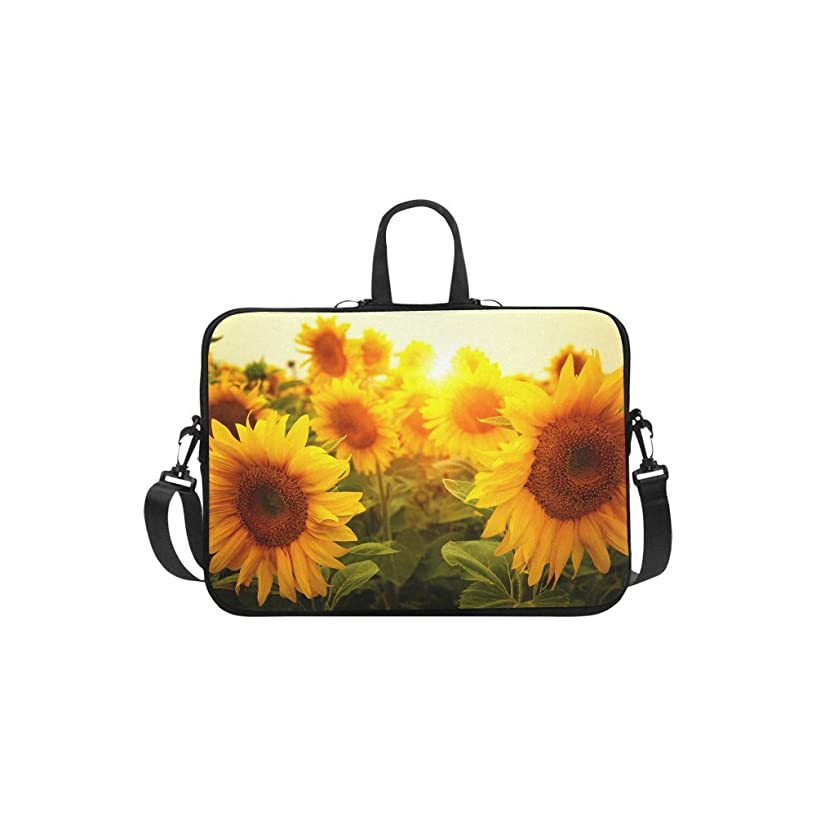 InterestPrint Sunflowers Sunset Laptop Sleeve Case Bag, Floral Sunflowers Shoulder Strap Laptop Sleeve Notebook Computer Bag 15-15.6 Inch for MacBook Pro Air Dell HP Lenovo Thinkpad Acer Ultrabook