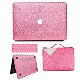 MacBook Pro 13 Case 2019 2018 2017 2016 Release A2159/A1989/A1706/A1708, Anban Glitter Bling Smooth Protective Case & Glitter Laptop Sleeve & Keyboard Cover Compatible for Mac Pro 13 With/No Touch Bar