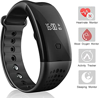 arVin Heart Rate Watch, Blood Pressure Monitor Smart Watch Sports Bracelet Wristband Activity Tracker Fitness Bracelet Cardio Watch with Pedometer Sleep Monitor for iPhone iOS Android (Black-Red)