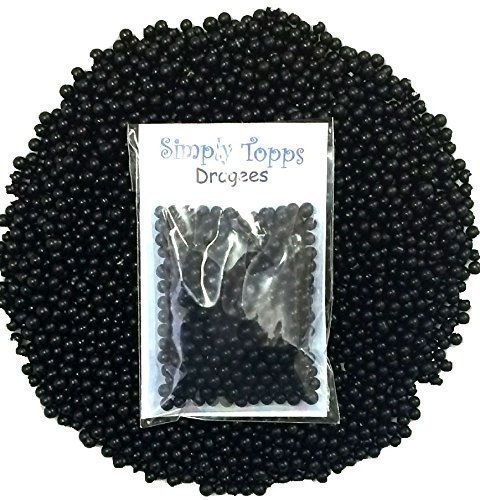 Black 4mm sugar dragees 30g for cake and cookie decorations