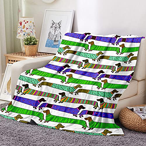 Perro Manta para Sofa 3D Animal Reversible Manta Estampata Cálida y Suave Manta de Oficina Mantas sólida para Cama sofá 180x200cm