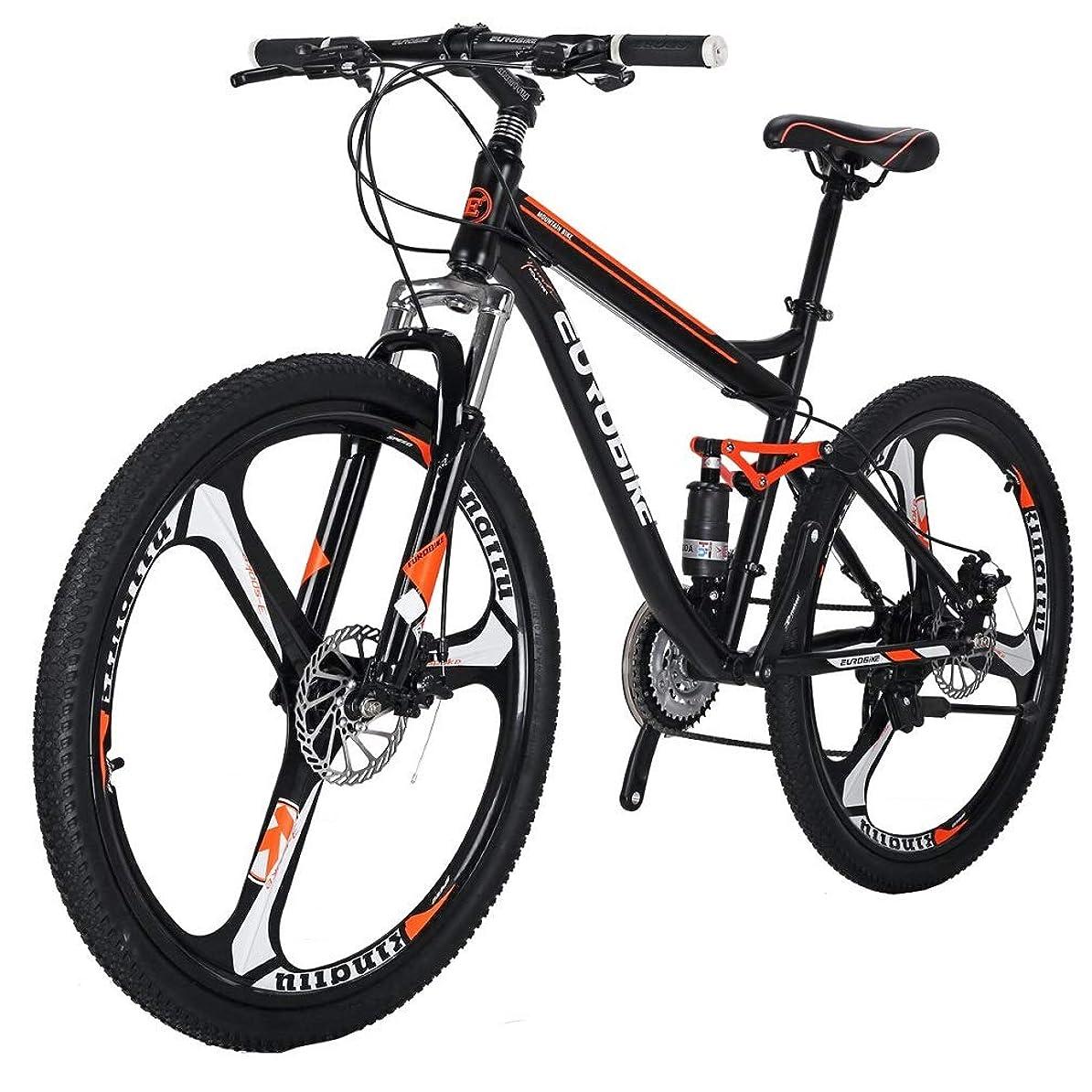 ショートカットかもめ配置EUROBIKE S7 マウンテンバイク MTB 27.5 21変速 前後のディスクブレーキ 3本スポーク車輪 通勤通学 自転車 Black/Orange