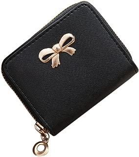 ALIKEEY Moda Mujer Sola Tira Cremallera Solid Bow Pequeño Cuadrado Negro Bolsa Bolso De La Moneda