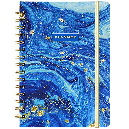 Planner 2021 - Weekly Monthly Planner 2021 with Tabs, 6.37' x 8.46', 2021 Daily Planner, Hardcover, Back Pocket, Elastic Closure