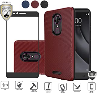 Compatible for Alcatel Onyx Case with Full Edged Tempered Glass Screen Protector, Premium Tough Armor Shield Hybrid [Shockproof] Textured Lined Design Dual Layer Case (Red)