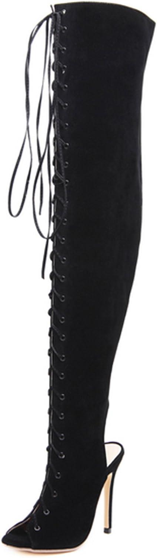 MODEOK After Cross-tie Boots Personalized Women's Slip Toe High Heels Stiletto Heels