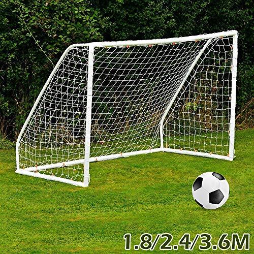 fannybuy サッカーネット ゴールネット フットボールネット サッカーゴール ポータブル 折りたたみ 練習用 標準メッシュ 組立て簡単 子供 少年 室内 屋外 アウトドアトレーニング 交換ネット (M:2.4m x 1.8m x 0.5m x 1.2