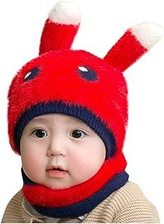 WOCACHI Baby Boys Girls Christmas Knitted Crochet Beanie Cap Lovely Rabbit Reindeer Ear Soft Hat Scarf 2PCS Sets