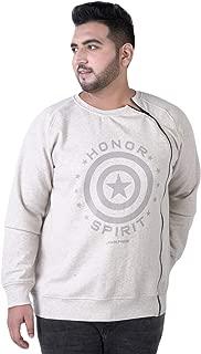 JOHN PRIDE Men's Plus Size Round Neck Off-White Front-Open Sweatshirt