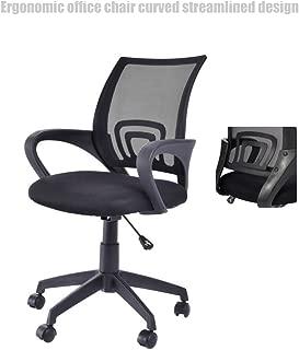 Modern Mid Back Office Chair Mesh Seats Ergonomic Back Supports Soft Sponge Upholstery 360 Degree Swivel Home Office Desk Task - Black Base # 1509