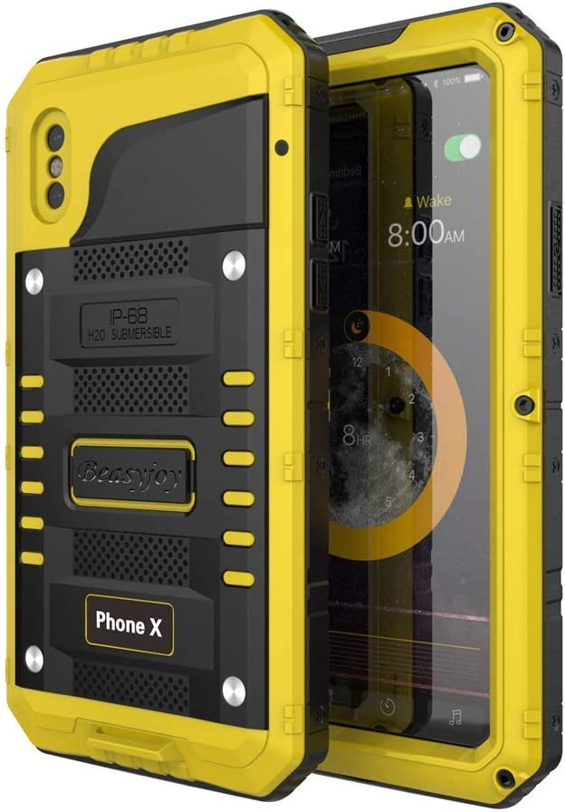 Beasyjoy iPhone Xs Case iPhone X/10 Metal Case Waterproof Heavy Duty Screen Full Body Protective Shockproof Drop Proof Durable Military Grade Case for Outdoor Yellow