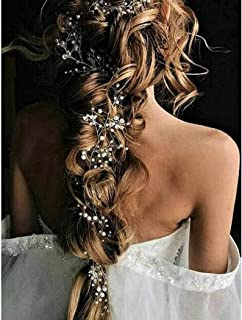 Catery Bride Wedding Headband Silver Pearl Long Hair Vine Bead Bridal Hair Accessories for Women and Girls