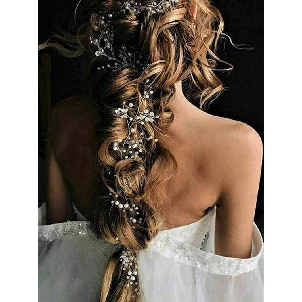 Catery Soldering Bride Wedding Headband Silver Pearl Long Hair Bead Vine Beauty products B
