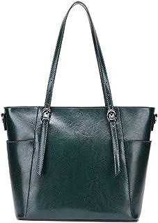 Portable Simple Multi-Function Large Capacity Shoulder Bag Shoulder Slung Leather Handbag (Color : Green)