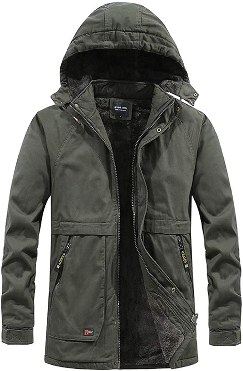 CHARTOU Men's Winter Military Drawstring Hooded Fleece-Lined Quilted Jacket Tops