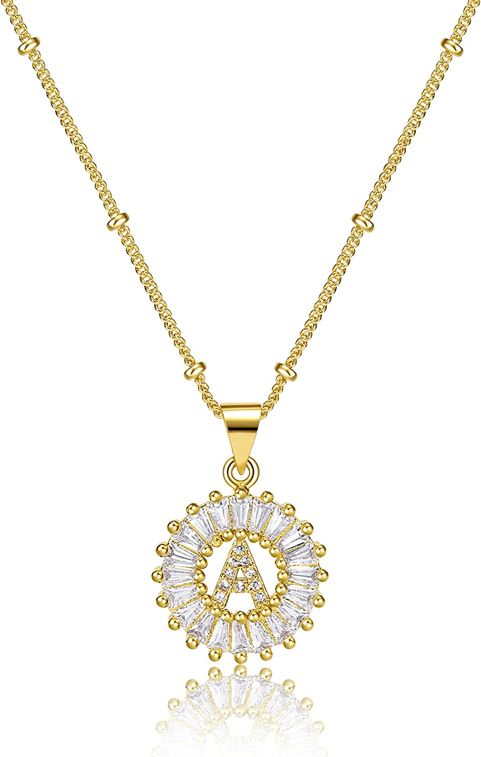 Initial A-Z Letter Pendant Necklace Choker for Girlfriend Women & Girls, BYIA Cubic Zirconia Capital Letter Drop Necklace Gold Plated Cooper Chain 18inch