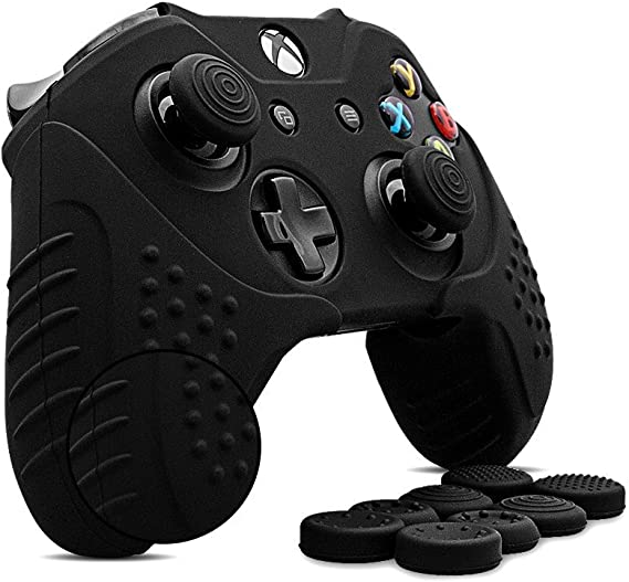 CHINFAI Xbox One S/X Controller Grip Skin Anti-Slip Silicone Protective Cover Case for Xbox 1 Controller with 4 Set Thumbstick Caps (Black)