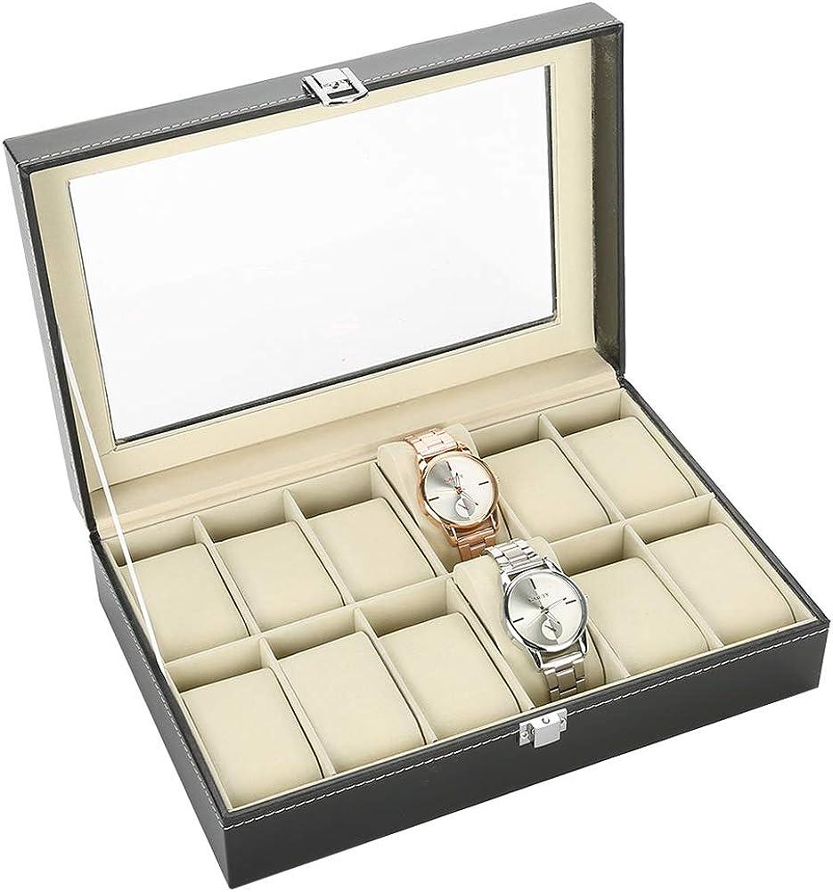 Estuche de Reloj, 12 Rejillas Reloj de Cuero de la PU Estuche de exhibición Duradero Reloj Estuche de Reloj Joyero Caja de exhibición Organizador de Relojes para relojero