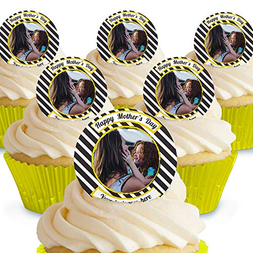 Cakeshop - Decoración comestible para tarta con foto del día de la madre Adornos de obleas de papel precortadas, 12 unidades