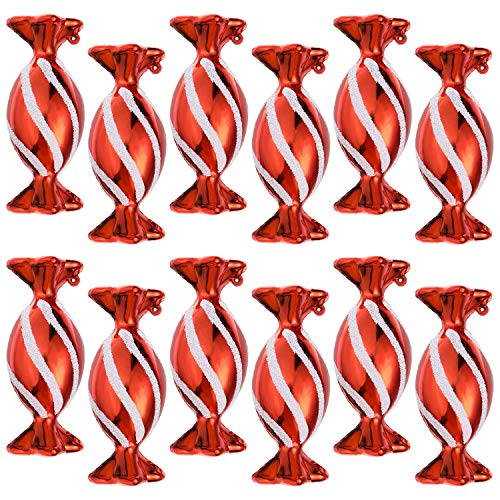 Jetec 12 Pieces Christmas Red Candy Shaped Ornaments with White Glitter Christmas Tree Ornament White and Red Christmas Decorations with Golden Ropes for Home Party