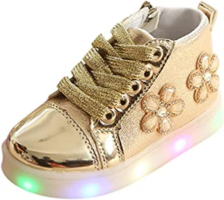 Sceoyche Kids LED Light Shoes, Baby Girls Boots Luminous Sport Shoes Breathable Outdoor Shoes Non-slip Walking Shoes Soft Infant Sneakers Running Shoes
