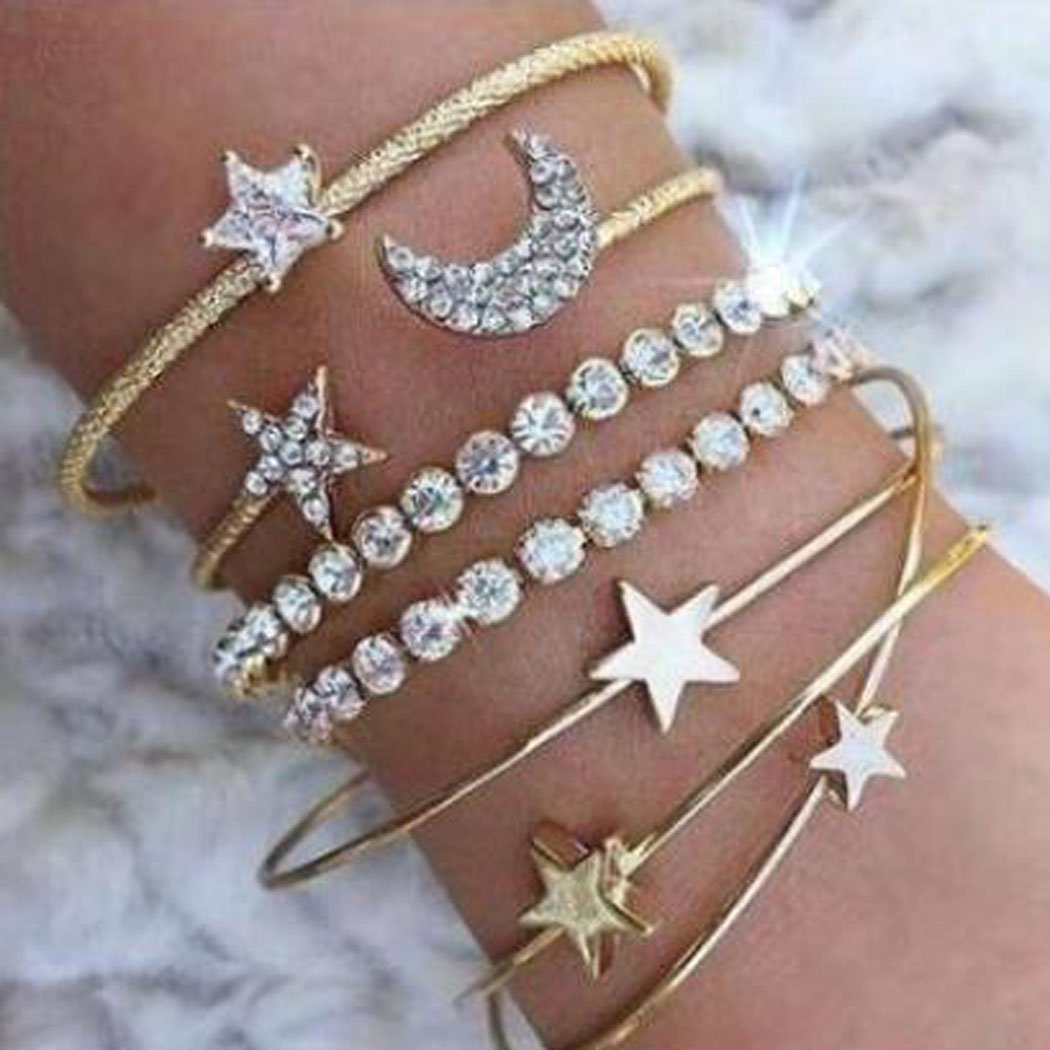 Jovono Hollow Hoop Open Bracelet Ended Wide Bangle Cuff with Rhinestone for women and girls(4 pcs) (Gold)