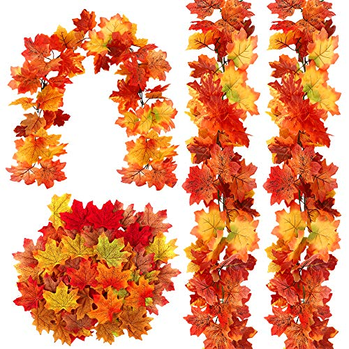 COCOBOO 3 Pack Fall Garland and 200 PCS Maple Leaves, Maple Leaves Garland for Home Garden Doorway Fireplace Halloween Thanksgiving Décor