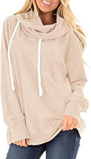 Womens Casual Ombre Pullover Hoodies Sweatshirts with Button and Pocket