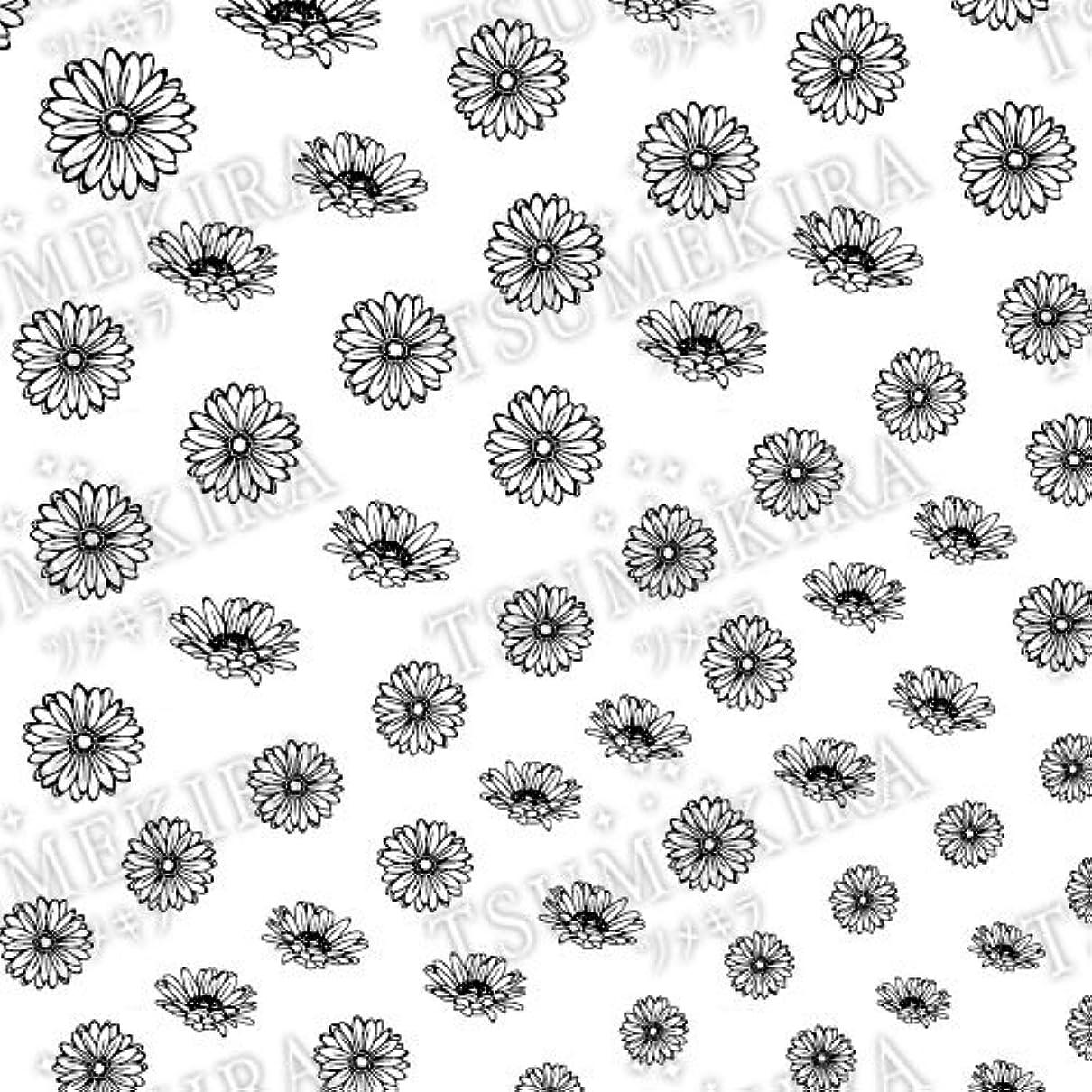 感染する愛撫同等のツメキラ ネイル用シール フラワースタイル ガーベラ ブラック