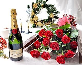 花由 生花 赤バラ 1ダースの花束 と シャンパンのセット