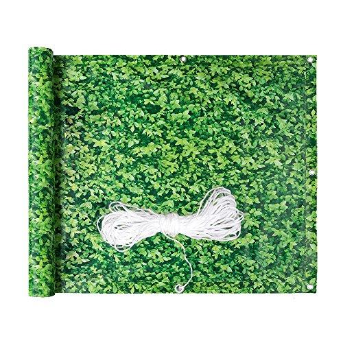 Hengda® Balkon Sichtschutz Windschutz Sichtblende Balkonverkleidung | mit Ösen und Kordel | 90x600cm grünes Laub | für den Gartenzaun oder Balkon | Blickdicht auswählbar Multifunktionen
