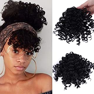 CTRLALT Kinky Curly Bangs Hair Natural Black Bangs Synthetic Afro Puff Drawstring Ponytail Hair Extensions Clip in Hair for Black Women (Black)