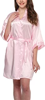 Womens Short Kimono Robe Silk Wedding Bridesmaid Bathrobe Short Satin Dress Gown Nightwear with Pocket