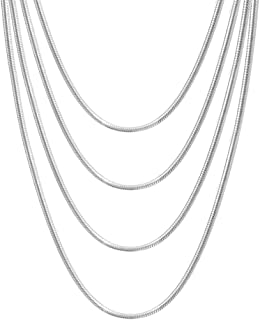 Stainless Steel 1mm-4mm Round Snake Chain Necklace for Women Girl,Set of 4