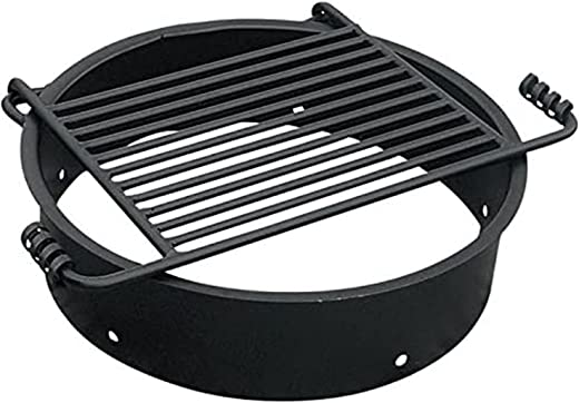 Pilot Rock 24 Inch Heavy Duty Steel Ground Fire Pit Ring Insert Liner and Metal Cooking Grate for Grilling, Camping, and Backyard Bonfires, Black