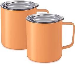 Maars Drinkware 79708-2PK Townie Stainless Steel Insulated Coffee Mug, 2 Pack, Peach