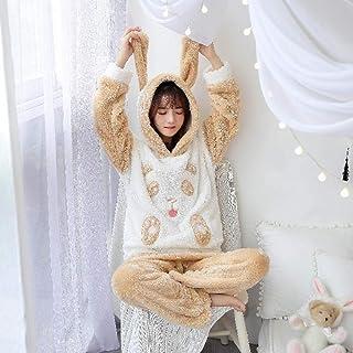 Autumn Winter Women Pyjamas Sets Pajamas Sleepwear Suit Thick Warm Coral Flannel Nightgown Female Cartoon Animal Zhaozb (Color : Ivory, Size : L)
