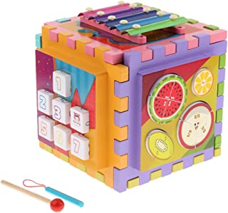 HOMYL 6 in 1 Multi-Function Wooden Activity Center Maze Play Cube, Kids Baby Early Developmental Toy Gift
