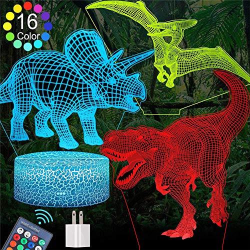 Dinosaurio 3D LED lámpara de mesa adolescente decoración juguetes para niños, 7 años niño regalos, regalo niño edad 7 6 5 4 3