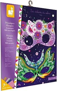Janod - Pochette Mosaïques Masques - Les Ateliers du Calme - Kit Loisir Créatif Enfant - Apprentissage Motricité fine et C...