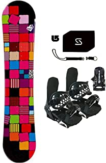 139-142cm Sionyx Quilt Snowboard & Symbolic Bindings & Leash & Stomp Pad & Burton Decal Package