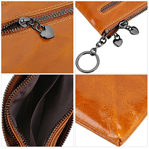 S-ZONE Women's Genuine Leather Mini Wallet Change Coin Purse Card Holder with Key Ring