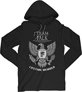 Team Falk Lifetime Member Family Surname Long Sleeve Hooded T-Shirt for Families with The Falk Last Name