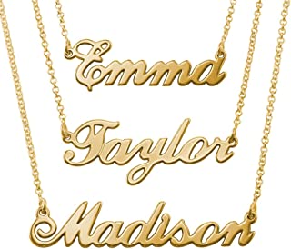 MyNameNecklace Name Necklaces - Personalized Engraved Name Pendant Jewelry Precious Metals Sterling Silver 925 & Gold Plating - Nameplate Necklace Christmas Gift for Her