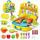 Dreamon Rollenspiel Küche Spielzeug Kinder Kochen Lebensmittel Spielset für Kleinkind Mädchen 3 Jahre alt,Gelb