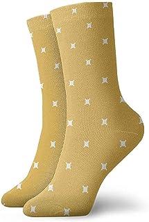Tedtte, Calcetines deportivos largos geométricos minimalistas de moda mostaza amarilla 30 cm