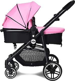 Best INFANS 2 in 1 Baby Stroller, High Landscape Infant Stroller & Reversible Bassinet Pram, Foldable Pushchair with Adjustable Canopy, Storage Basket, Cup Holder, Suspension Wheels (Pink) Review