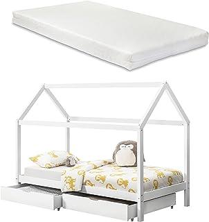 [en.casa] Barnsäng med sänglåda + madrass 90 x 200 cm hus trä vit sängkläder hussäng
