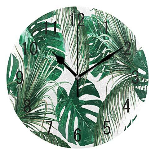 Use7Home Decor Tropical Palm Tree Leaves Jungle Foglia in Acrilico Orologio da Parete Orologio Silenzioso, Senza ticchettio Arte per Soggiorno Cucina Camera da Letto